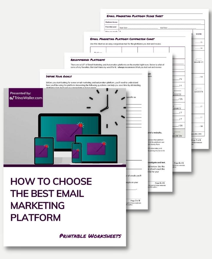 How to choose the best email marketing platform worksheets mockup